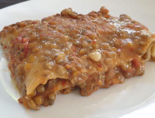Lasagne con ragu' di lenticchie